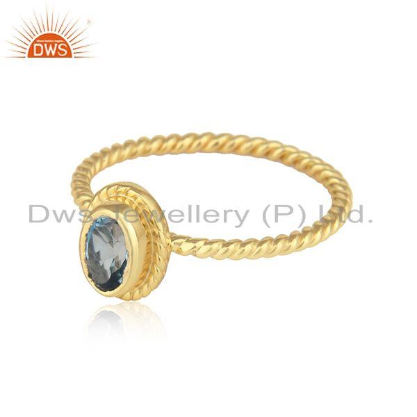 Natural london bt textured ring in yellow gold on silver 925