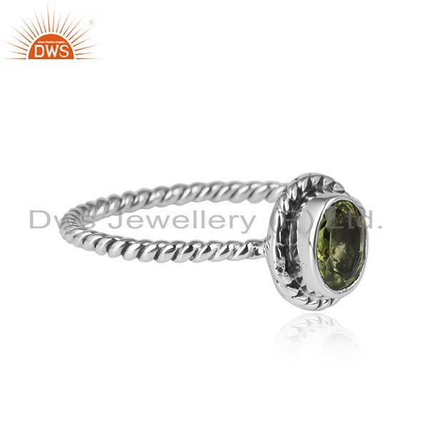 Peridot gemstone handmade oxidized 925 sterling silver ring jewelry
