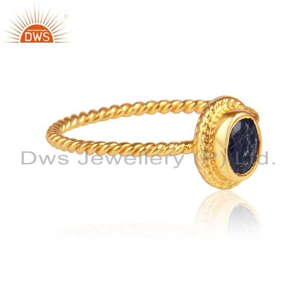 Blue sapphire gemstone designer yellow gold plated silver rings