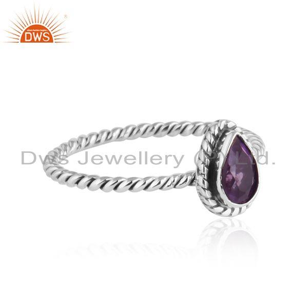 Exporter Pear Shape Amethyst Twisted 92.5 Silver Oxidized Stackable Rings