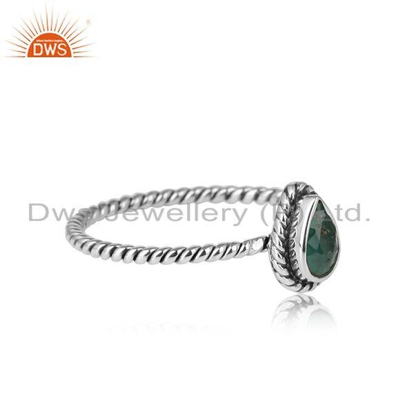 Pear shape emerald gemstone oxidized 925 silver twisted design rings