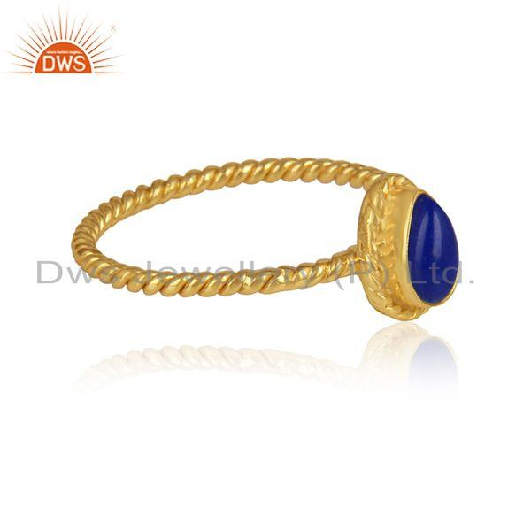 Lapis lazuli gemstone twisted designer gold plated silver rings