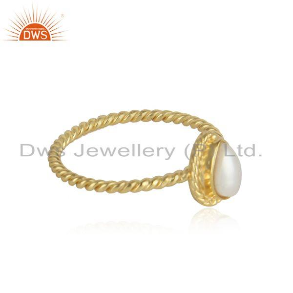 Pear shape pearl gemstone twisted 18k gold plated silver rings