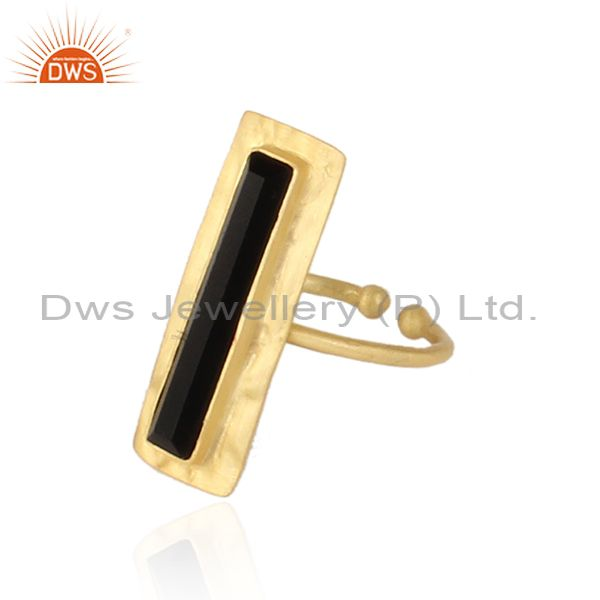 Exporter Glazed Brik Gold Plated Silver Natural Black Onyx Gemstone Rings
