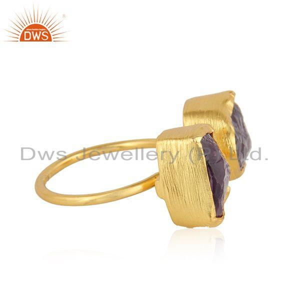 Exporter Nugget Design Gold Plated 925 Silver Amethyst Gemstone Rings