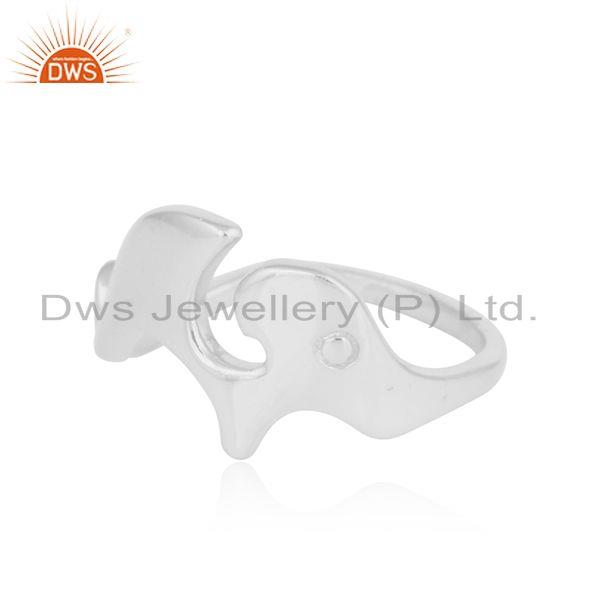 Exporter 925 Fine Sterling Silver Elephant Shape Womens Ring Jewelry