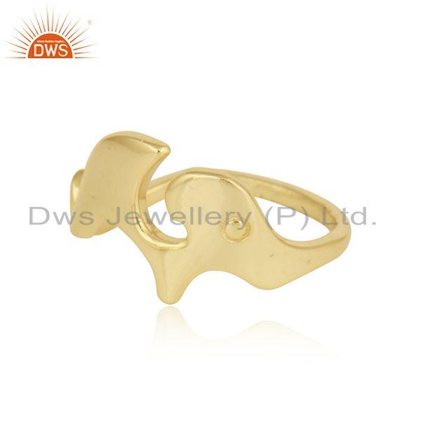 Exporter Gold Plated 92.5 Silver Enchanting Elephant Design Ring Jewelry