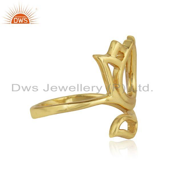 Exporter Yellow Gold Plated Silver Designer Beautiful Lotus Ring Jewelry