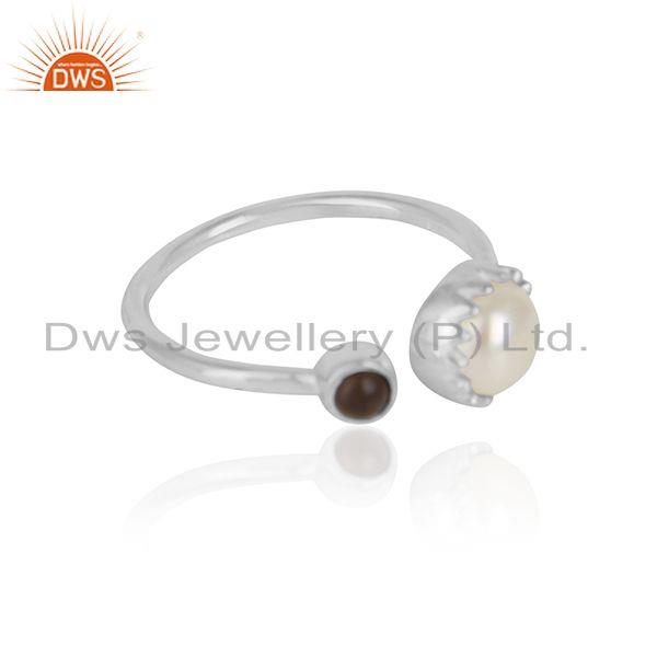 Smoky quartz pearl gemstone womens sterling silver rings jewelry