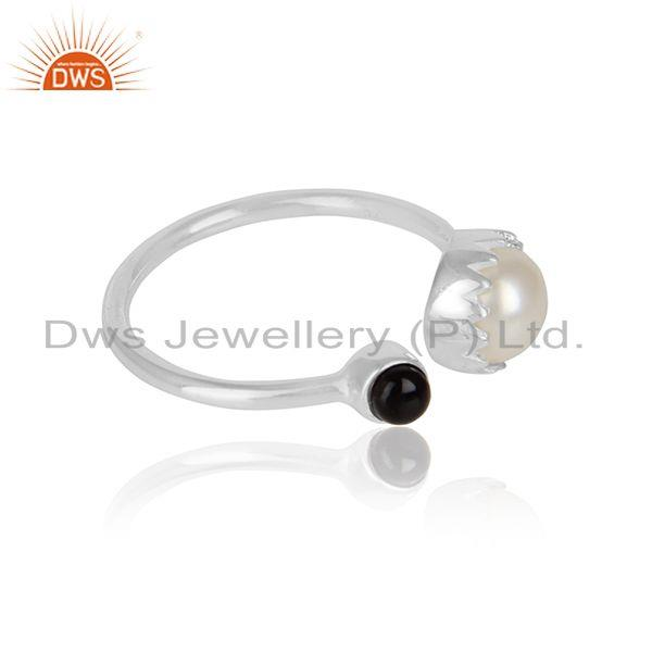 Black onyx pearl gemstone girls designer 925 sterling silver ring