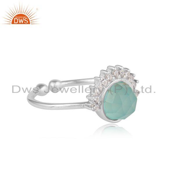 Rising sun design aqua chalcedony cz gemstone sterling silver ring