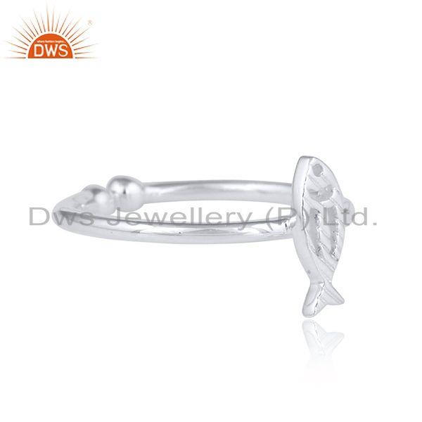 925 sterling fine silver fish designer womens plain silver ring
