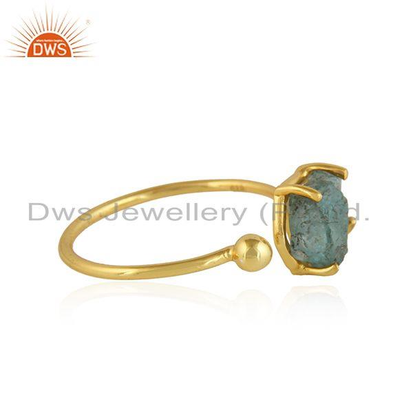Exporter Handmade 18k Gold Plated 925 Silver Neon Apatite Gemstone Rings