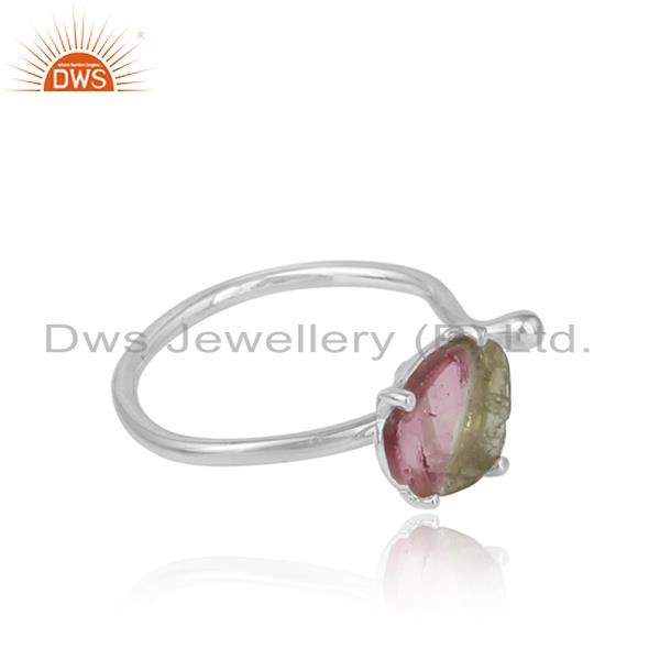 Handmade designer bio tourmaline rough gemstone ring in silver 925