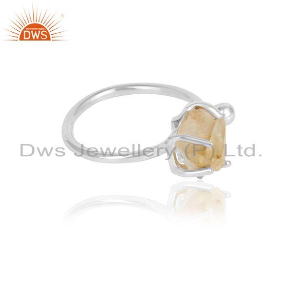 Natural citrine gemstone prong set sterling fine silver ring jewelry