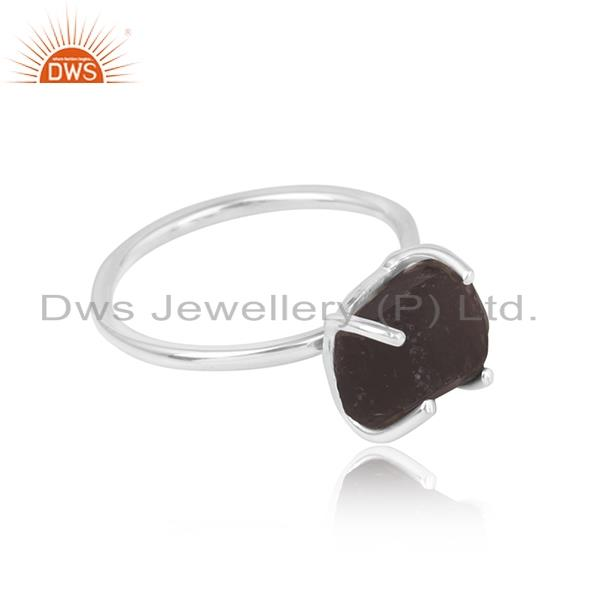 Handcrafted designer smoky rough gemstone ring in silver 925