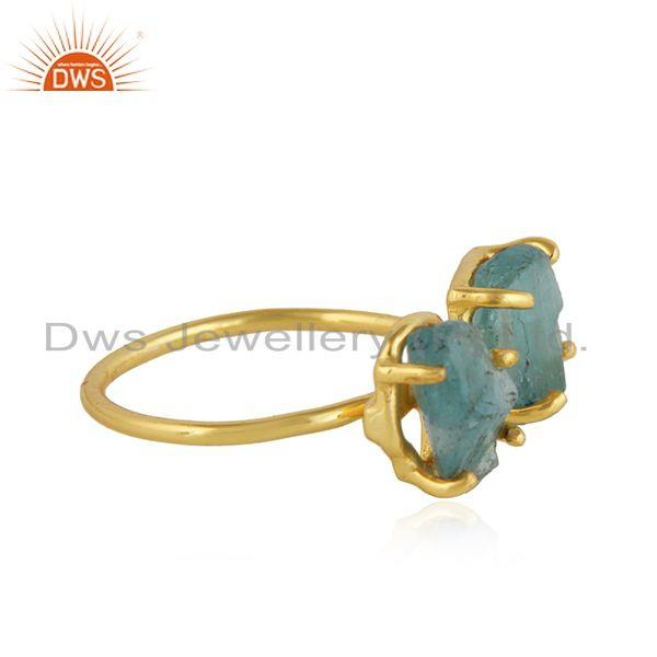Exporter Prong Set Apatite Gemstone Womens Gold Plated 925 Silver Rings