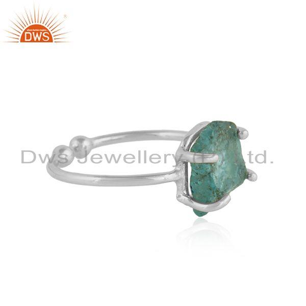 Exporter Sterling Fine Silver Prong Set Neon Apatite Gemstone Ring Jewelry