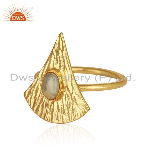 Exporter Texture Yellow Gold Plated Silver Ethiopian Opal Gemstone Rings