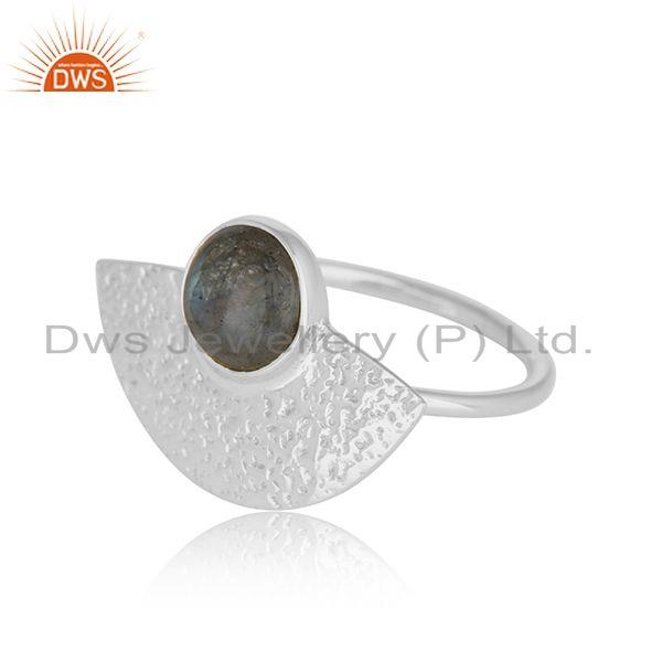Exporter New 925 Sterling Fine Silver Texture Labradorite Gemstone Rings
