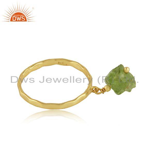 Exporter Natural Peridot Gemstone Womens Gold Plated Designer Silver Rings