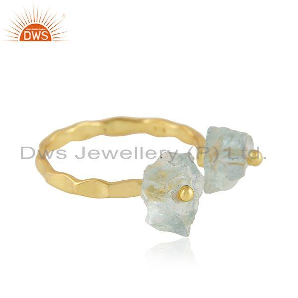 Exporter Aqua Chalcedony Gemstone Handmade Silver Gold Plated Ring Jewelry