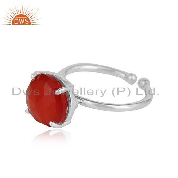 Red onyx gemstone designer prong set 925 sterling silver rings
