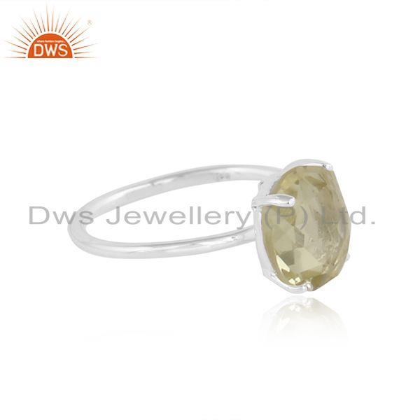 Round citrine gemstone sterling fine silver handmade ring jewelry