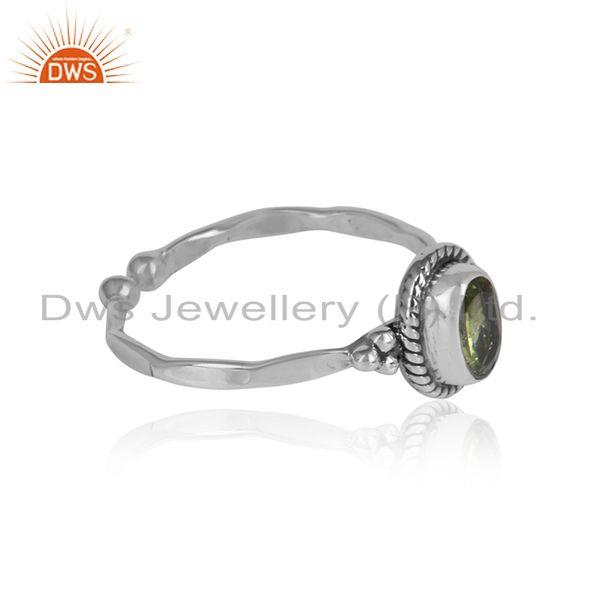 Peridot gemstone girls designer oxidized 925 silver ring jewelry