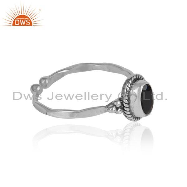 Black onyx gemstone designer oxidized 925 silver womens rings