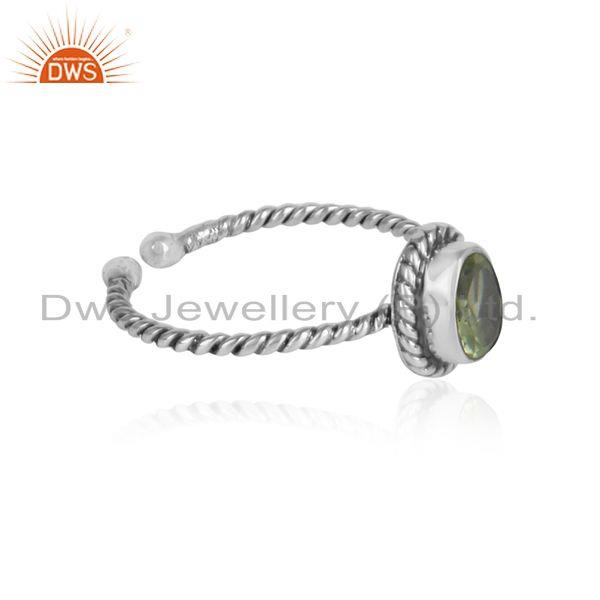 Peridot gemstone designer twisted silver oxidized ring jewelry