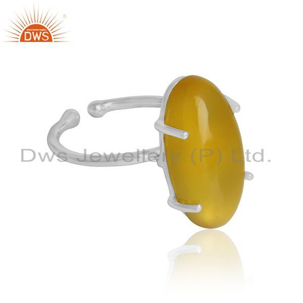Yellow chalcedony gemstone designer fine sterling silver rings
