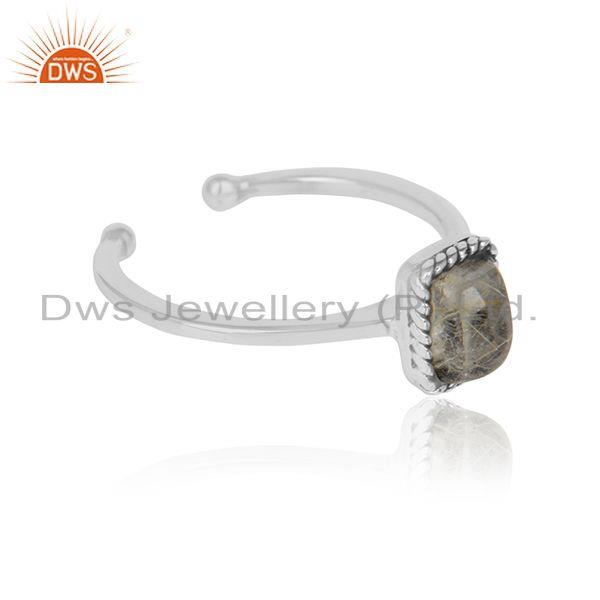 New oxidized 925 silver golden rutile gemstone ring for girls