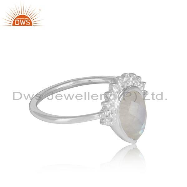 Pear rainbow moonstone cz sterling fine silver girls ring jewelry