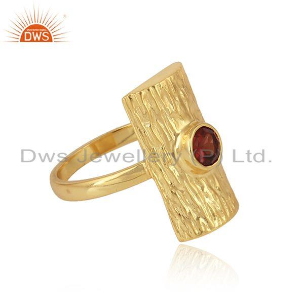 Natural garnet gemstone designer gold plated silver rings jewelry