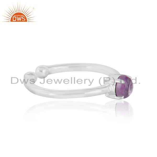 Elegant dainty solitaitre ring in silver 925 with amethyst