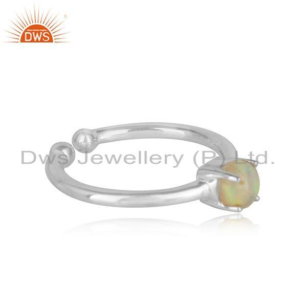 Adjustable solitaire ring in fine silver with ethiopian opal