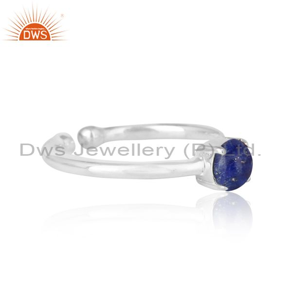 Elegant dainty solitaitre ring in silver 925 with lapis