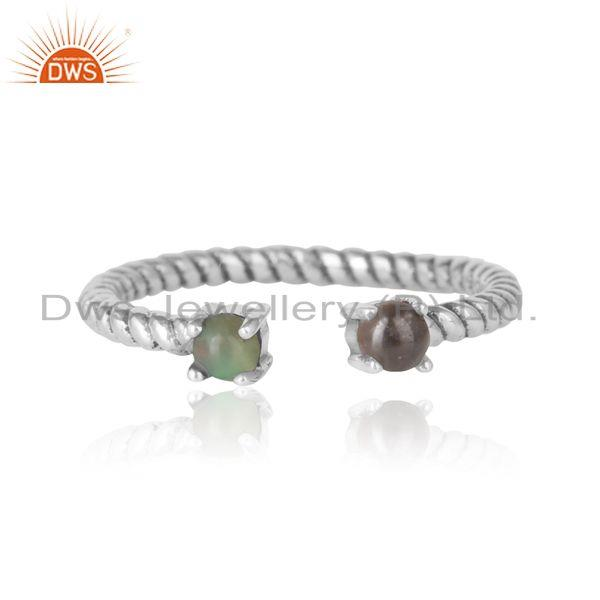Dainty twisted ring in oxidized silver smoky and ethiopian opal