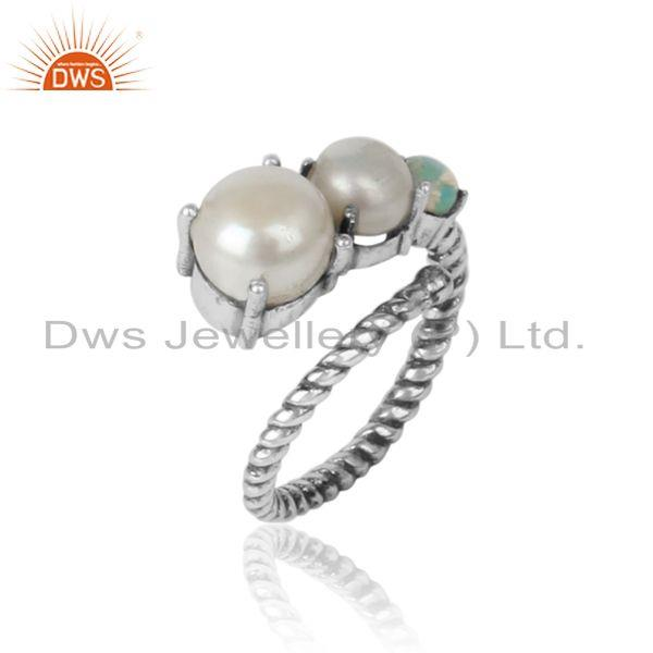 Handmade designer ring in oxidized silver pearl and ethiopian opal