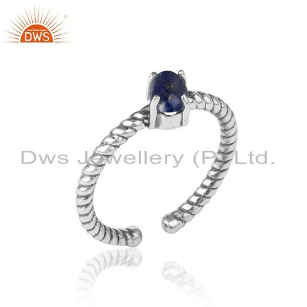 Dainty oxidized silver ring adorn with tilted natural lapis