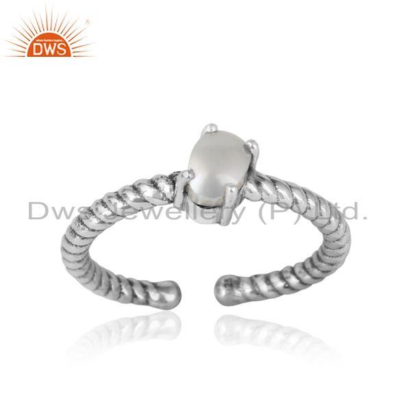 Dainty oxidized silver ring adorn with tilted natural pearl