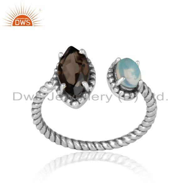 Oxidized silver twisted ring with smoky and ethiopian opal
