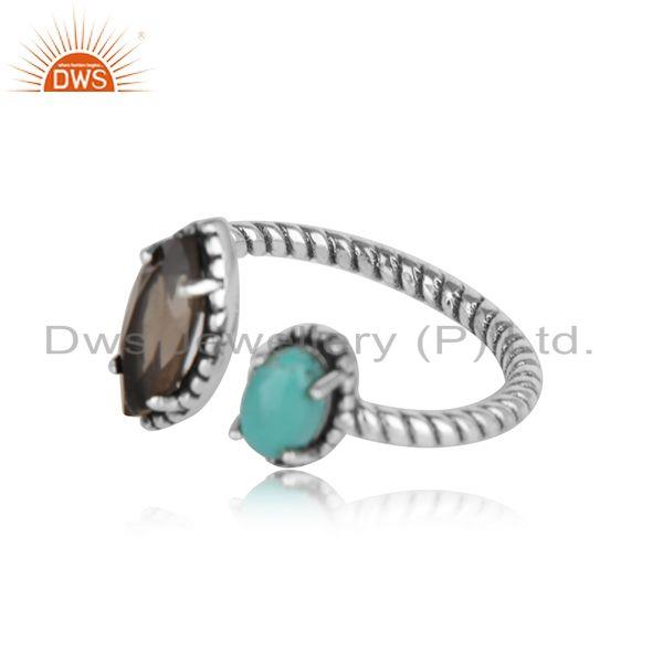 Oxidised silver twisted ring with smoky and arizona turquiose