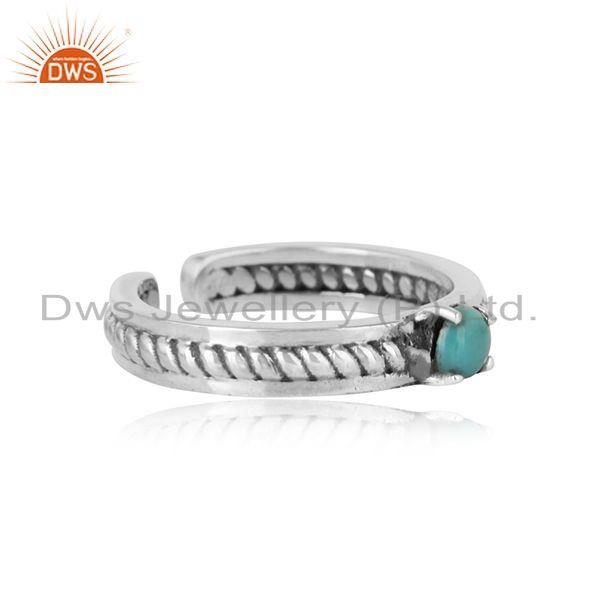 Designer twisted ring in oxidized silver 925 and arizona turquiose