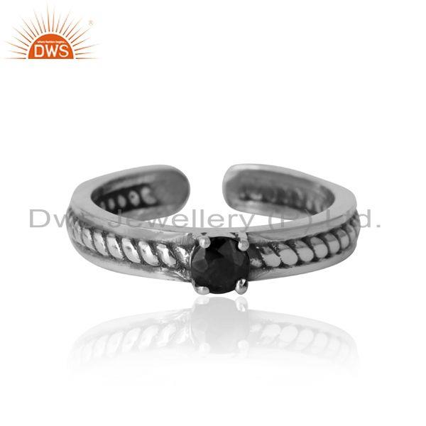 Designer twisted ring in oxidized silver 925 and black onyx