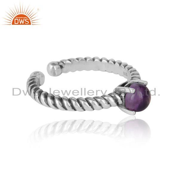 Designer textured amethyst ring in oxidised silver 925