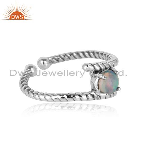 Dainty twisted ring in oxidised silver 925 with ethiopian opal