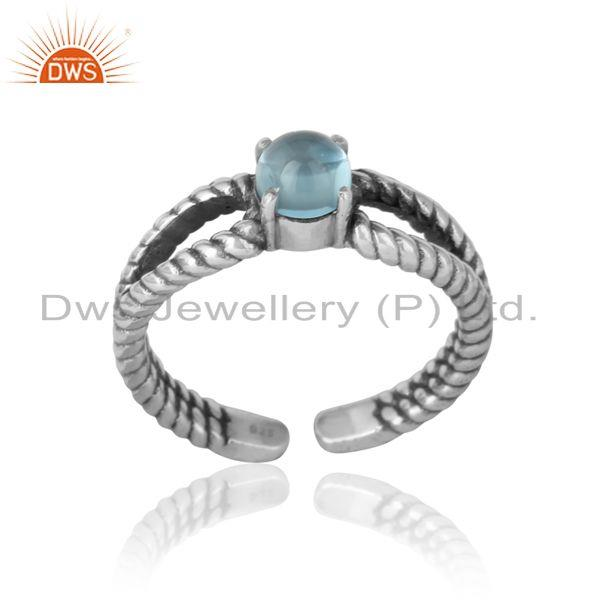 Blue topaz designer twisted ring in oxidized silver 925