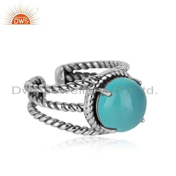 Twisted split shank ring in oxidised silver with aqua chalcedony